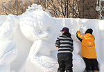 February 3, 2019, Sapporo, Japan - Workers put final touches on a snow sculpture of a character of Snow Miku displayed at the 70th annual Sapporo Snow Festival in Sapporo in Japan's nortern island of Hokkaido on Sunday, February 3, 2019. The week-long snow festival will open on February 4 through February 11 and over 2.5 million people are expecting to visit the festival.   (Photo by Yoshio Tsunoda/AFLO) LWX -ytd-