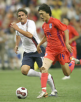 Julian Valentin races to catch Chung Yong Shim. Republic of Korea and the USA tied 1-1 at the FIFA U20 World Cup at the Olympic stadium in Montreal, Canada on June 30, 2007.