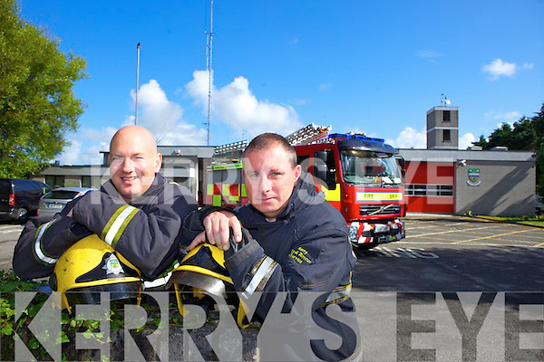 Gareth Elbell and Mike Collins who have over thirty years experience with the Fire Service are leaving the station.