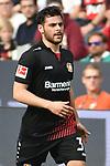 14.04.2018, BayArena, Leverkusen , GER, 1.FBL., Bayer 04 Leverkusen vs. Eintracht Frankfurt<br /> im Bild / picture shows: <br /> der Held des Tages f&uuml;r Leverkusen der dreifache Torsch&uuml;tze Kevin Volland (Leverkusen #31), <br /> <br /> <br /> Foto &copy; nordphoto / Meuter