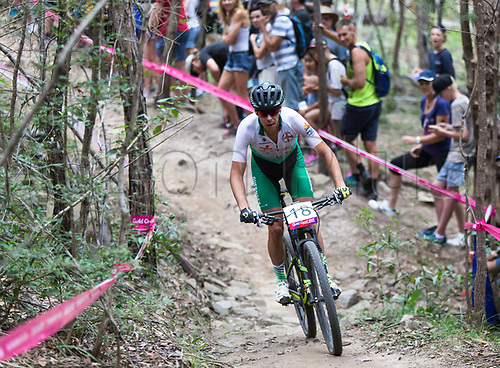12th April 2018, Nerang Mountain Bike Trails, Gold Coast, Australia; Commonwealth Games day 8; Michael Serafin (GGY) during the Men's Cross-country Mountain Bike Race