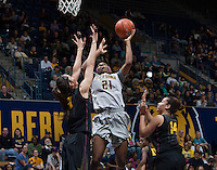 Reshanda Gray of California shoots the ball during the game against Arizona State at Haas Pavilion in Berkeley, California on February 16th, 2014.  California defeated Arizona State, 74-63.