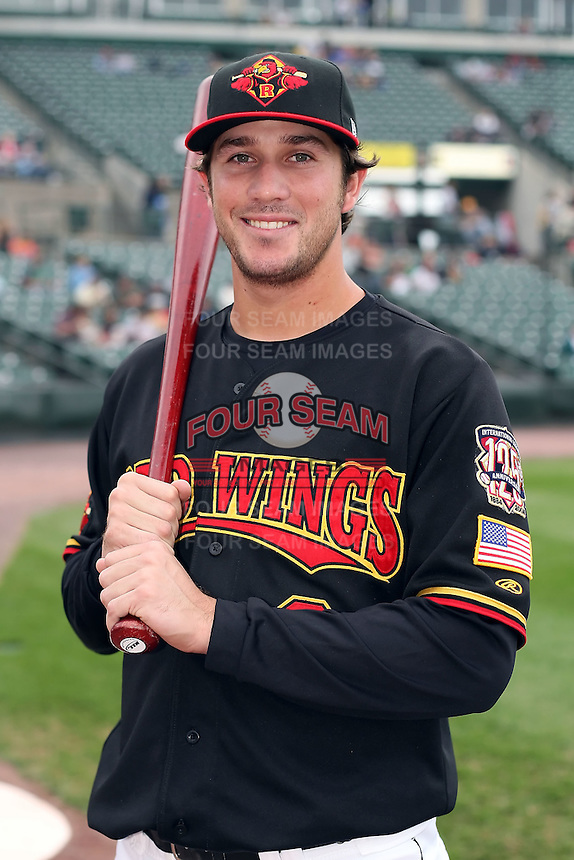 August 28 2008:  Shortstop Trevor Plouffe (9) of the Rochester Red Wings, Class-AAA affiliate of the Minnesota Twins, during a game at Frontier Field in Rochester, NY.  Photo by:  Mike Janes/Four Seam Images