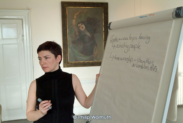 A trainer leads a workshop session at a London Borough of Haringey Private Sector Housing Conference at Bruce Castle Museum, North London.