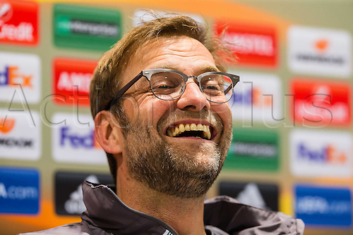 17.02.2016, Augsburg, Germany. Liverpool FC Trainer Juergen Klopp  speaks at the press conference ahead of their game versus Augsburg on 18th February