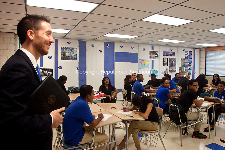 WATERBURY, CT 12 AUGUST 2015 -082615DA04 Chief Academic Officer, Darren Schwartz visits a senior class for the first day back to school at Crosby High School on Wednesday,<br /> Darlene Douty Republican-American
