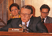 United States Senator Dale Bumpers (Democrat of Arkansas) questions a witness during the US Senate Oversight Committee hearing on the Wedtech Scandal involving the questionable award of government contracts in Washington, DC on September 9, 1987.  Former Senator Bumpers passed away on Saturday, January 2, 2016 at the age of 90.<br /> Credit: Arnie Sachs / CNP