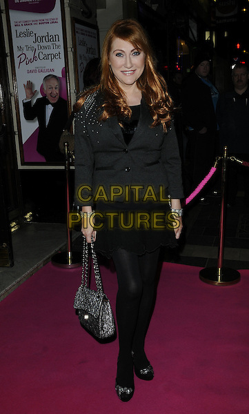ROSE MARIE.Press night for 'My Trip Down The Pink Carpet' at the Apollo Theatre, Shaftesbury Avenue, London, England..February 3rd 2011.full length black tights skirt jacket grey gray.CAP/CAN.©Can Nguyen/Capital Pictures.