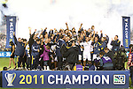 20 November 2011: Los Angeles Galaxy players, coaches, and staff celebrate with the Philip F. Anschutz championship trophy. The Los Angeles Galaxy defeated the Houston Dynamo 1-0 at the Home Depot Center in Carson, CA in MLS Cup 2011, Major League Soccer's championship game.