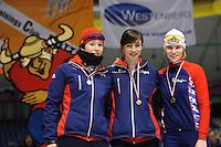 SCHAATSEN: HEERENVEEN: Thialf, Viking Race, 18-03-2011, Podium Girls15 500m, Antoinette de Jong (G-FR), Bente van den Berge (G-FR), Janetta Tolsma (G-FR), ©foto Martin de Jong