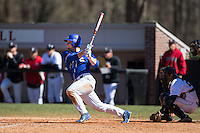 Jake Henson (4) of the Saint Louis Billikens follows through on his swing against the Davidson Wildcats at Wilson Field on March 28, 2015 in Davidson, North Carolina. (Brian Westerholt/Four Seam Images)