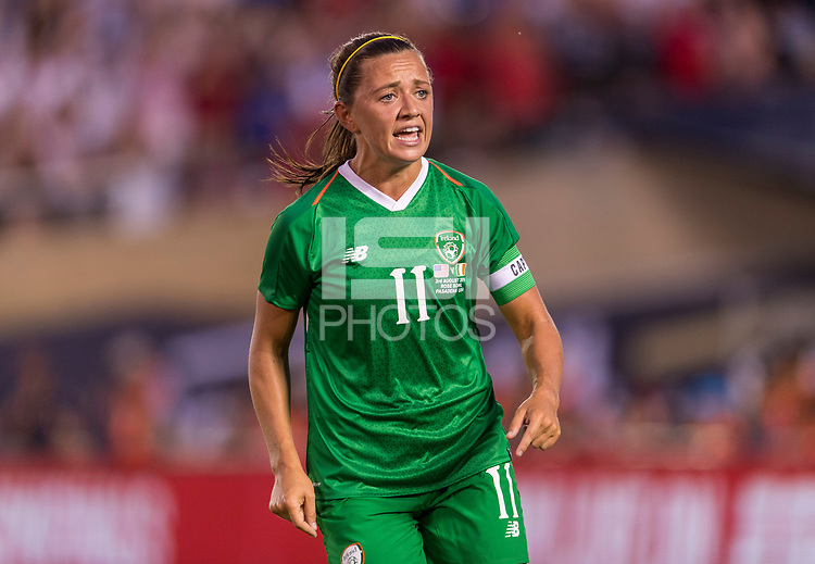 PASADENA, CA - AUGUST 4: Katie McCabe #11 yells during a game between Ireland and USWNT at Rose Bowl on August 3, 2019 in Pasadena, California.