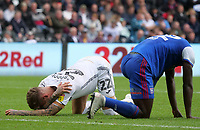Swansea City's Joe Rodon goes down injured after a clash with Ipswich Town's Aristote Nsiala<br /> <br /> Photographer Ian Cook - CameraSport<br /> <br /> The EFL Sky Bet Championship - Swansea City v Ipswich Town - Saturday 6th October 2018 - Liberty Stadium - Swansea<br /> <br /> World Copyright &copy; 2018 CameraSport. All rights reserved. 43 Linden Ave. Countesthorpe. Leicester. England. LE8 5PG - Tel: +44 (0) 116 277 4147 - admin@camerasport.com - www.camerasport.com