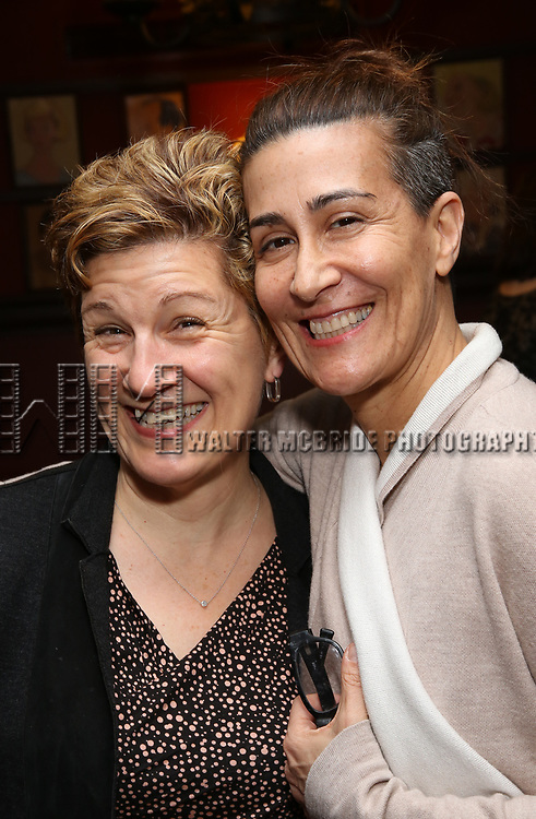 Lisa Kron and Jeanine Tesori attends the The Robert Whitehead Award presented to Mike Isaacson at Sardi's on May 10, 2017 in New York City.