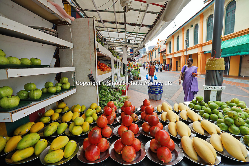 Indian fruit and vegetable grocery stores in an area of  Singapore known as Little India, Singapore, 14 March 2015.