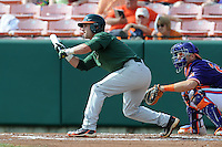 Second Baseman Michael Broad #8 attempts to bunt during a  game against the Clemson Tigers at Doug Kingsmore Stadium on March 31, 2012 in Clemson, South Carolina. The Tigers won the game 3-1. (Tony Farlow/Four Seam Images).