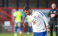 Eden Hazard of Chelsea take a drink before the match during the U23 Premier League 2 match between Chelsea and Everton at the EBB Stadium, Aldershot, England on 25 August 2017. Photo by Andy Rowland.