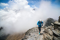 Hervé Barmasse trail running on Chukhung Ri, a 5546 meter highpoint above Chukhung, in the Khumbu Region of Nepal.