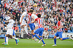 Atletico de Madrid's player Antoine Griezmann, Stefan Savic and Filipe Luis and Malaga CF Federico Ricca Rostagnol and Ignacio Camacho during a match of La Liga Santander at Vicente Calderon Stadium in Madrid. October 29, Spain. 2016. (ALTERPHOTOS/BorjaB.Hojas)