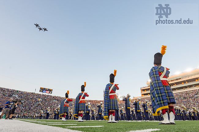September 17, 2016; Three EA-18G Growlers of Electronic Attack Squadron 209 (VAQ-209) fly over Notre Dame Stadium before a football game. (Photo by Matt Cashore)