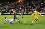 Crystal Palace's Frazier Campbell goes down under the tackle of Sunderland's Santiago Vergini<br /> <br /> - Barclays Premier League - Crystal Palace vs Sunderland- Selhurst Park - London - England - 3rd November 2014  - Picture David Klein/Sportimage