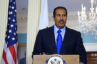 January 11, 2012  (Washington, DC)  Qatari Foreign Minister Sheikh Hamad bin Jassim bin Jabor Al Than speaks with the press at the State Department in Washington after a bilateral meeting with  U.S. Secretary of State Hillary Rodham Clinton.  (Photo by Don Baxter/Media Images International)