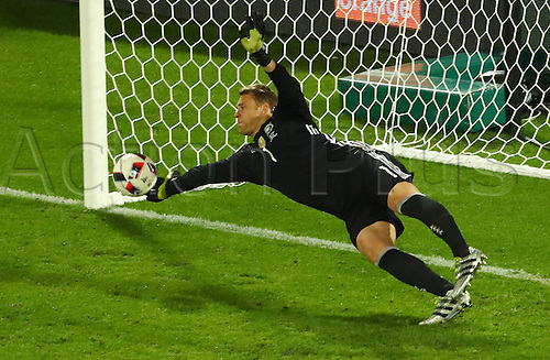 02.07.2016. Bordeaux, France.  Germany's goal keeper Manuel Neuer saves the penalty shot of Italy's Leonardo Bonucci during the UEFA EURO 2016 quarter final soccer match between Germany and Italy at the Stade de Bordeaux in Bordeaux, France, 02 July 2016.