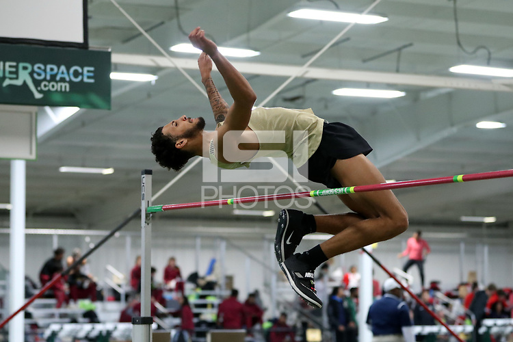WINSTON-SALEM, NC - FEBRUARY 07: Tony Jones of Wake Forest University clears the bar in the Men's High Jump at JDL Fast Track on February 07, 2020 in Winston-Salem, North Carolina.