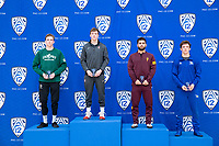STANFORD, CA - March 7, 2020: Bernie Truax of Cal Poly, Shane Griffith of Stanford, Joshua Shields of Arizona State University, and Jacob Thalin not Cal State Bakersfield during the 2020 Pac-12 Wrestling Championships at Maples Pavilion.