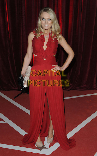 Michelle Hardwick.attended the British Soap Awards 2013, Media City, Salford, Manchester, England, UK, 18th May 2013..full length red dress cut out hand on hip ruffle long maxi slit split clutch bag nude shoes .CAP/CAN.©Can Nguyen/Capital Pictures.