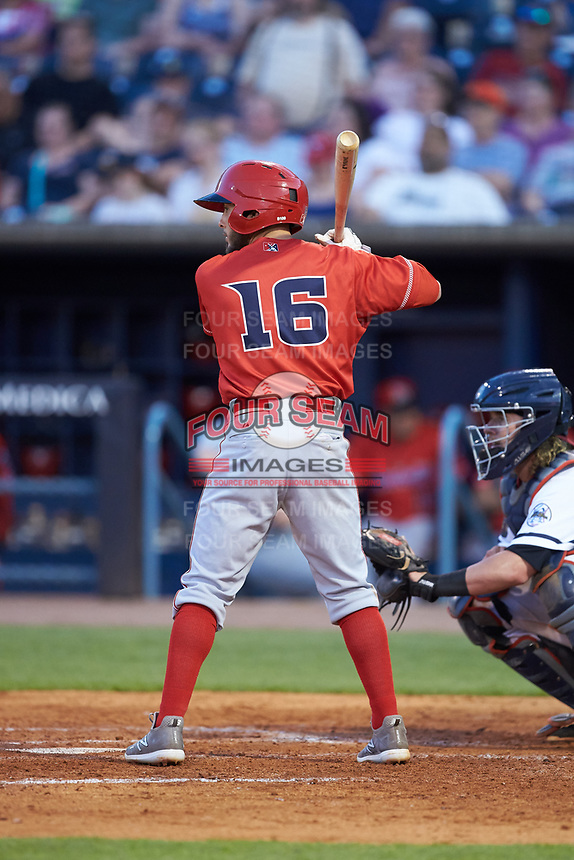 Blake Trahan (16) of the Louisville Bats at bat against the Toledo Mud Hens at Fifth Third Field on June 16, 2018 in Toledo, Ohio. The Mud Hens defeated the Bats 7-4.  (Brian Westerholt/Four Seam Images)