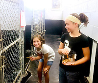 Photo submitted<br /> Jaelyn Baum, left, and McKenna Baum pass out treats to the dogs in the Siloam Springs Animal Shelter. The sisters started a dog treat business, Bark Bites, and give 20 percent of their proceeds to Tailwaggers. They adopted their dog Charlie, who serves as chief taste-tester for their business, from the shelter in 2016.