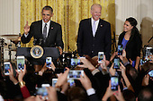United States President Barack Obama (L) delivers remarks during a reception to mark the Cinco de Mayo holiday with Vice President Joe Biden and Yanely Gonzalez (R) in the East Room at the White House May 5, 2016 in Washington, DC. Gonzalez's parents are undocumented immigrants from Mexico and she is a U.S. citizen who will vote in her first presidential election this year. The holiday commemorates the Mexican Army's unlikely victory over French forces at the Battle of Puebla in on May 5, 1862. <br /> Credit: Chip Somodevilla / Pool via CNP