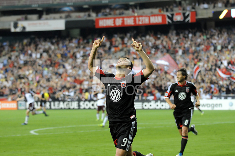 D.C. United forward Hamdi Salihi (9) celebrates his score in the 60th minute of the game. D.C. United defeated the Colorado Rapids 2-0 at RFK Stadium, Wednesday May 16, 2012.