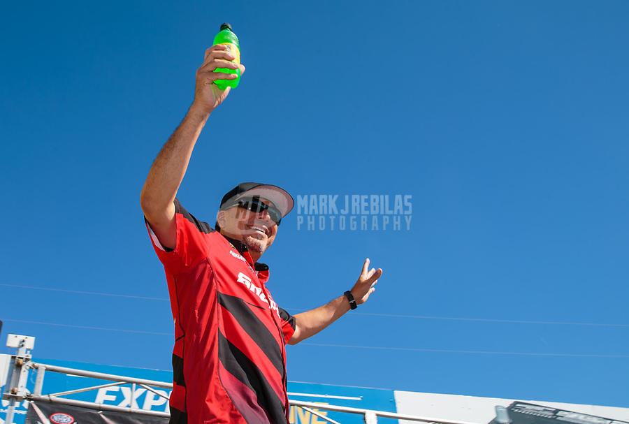 Sep 16, 2018; Mohnton, PA, USA; NHRA funny car driver Cruz Pedregon during the Dodge Nationals at Maple Grove Raceway. Mandatory Credit: Mark J. Rebilas-USA TODAY Sports