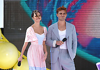 "Maia Mitchell and KJ Apa onstage at FOX's ""Teen Choice 2019"" at the Hermosa Beach Pier Plaza on August 11, 2019 in Hermosa Beach, California. (Photo by Frank Micelotta/Fox/PictureGroup)"