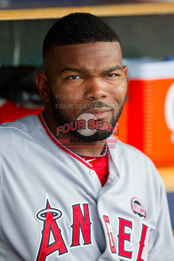 Howie Kendrick (47) of the Los Angeles Angels prior to the game against the Detroit Tigers at Comerica Park on June 25, 2013 in Detroit, Michigan.  The Angels defeated the Tigers 14-8.  (Brian Westerholt/Four Seam Images)