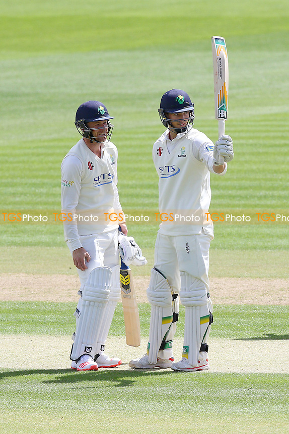 Craig Meschede of Glamorgan (R) celebrates scoring a half-century, 50 runs - Glamorgan CCC vs Essex CCC - LV County Championship Division Two Cricket at the SWALEC Stadium, Sophia Gardens, Cardiff, Wales - 19/05/15 - MANDATORY CREDIT: TGSPHOTO - Self billing applies where appropriate - contact@tgsphoto.co.uk - NO UNPAID USE