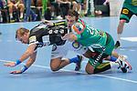 06.10.2019, Klingenhalle, Solingen,  GER, 1. HBL. Herren, Bergischer HC vs. TSV GWD Minden, <br /> <br /> im Bild / picture shows: <br /> MILJAN PUSICA (Minden #20), im Zweikampf gegen  Max Darj (BHC #5), <br /> <br /> <br /> Foto © nordphoto / Meuter
