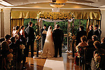 Bride and groom wedding recessional in the Hudson Room at Tappan Hill Mansion, Westchester, New York.