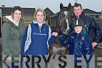 DUFFER: The Corridons from Ballyheigue with their pony Duffer as they get reay for the Kerry Harriers Hunt in Ballyheigue on Sunday, l-r: Sarah,Caroline Simon and PJ Corrison.