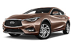 Stock pictures of low aggressive front three quarter view of 2016 Infiniti Q30 Premium 5 Door Hatchback Low Aggressive