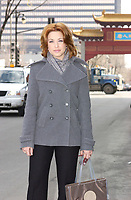 Natasha St-Pier  pose for photographer on St-Laurent Boulevard, Montreal, Canada<br /> , February 26th, 2002.