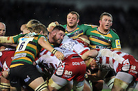 The Northampton Saints front row look on as a scrum breaks up. Aviva Premiership match, between Northampton Saints and Gloucester Rugby on November 27, 2015 at Franklin's Gardens in Northampton, England. Photo by: Patrick Khachfe / JMP