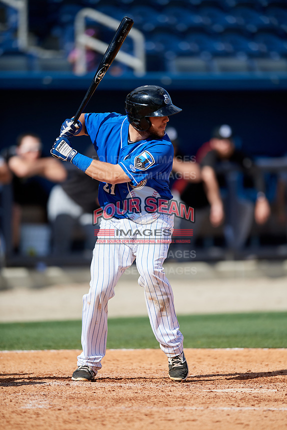 Biloxi Shuckers catcher Dustin Houle (21) at bat during a game against the Jackson Generals on April 23, 2017 at MGM Park in Biloxi, Mississippi.  Biloxi defeated Jackson 3-2.  (Mike Janes/Four Seam Images)