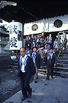More than 8 million people a yearly make a pilgirmage to Nagano, Japan to the Zenkoji Temple, the mecca of Buddhism.  The towering two-tiered, thatched-roof  temple that was build in 624 AD, was designed in 1707 a national treasure.   (Jim Bryant Photo).....