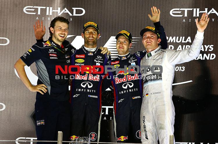 01.-03.11.2013, Yas-Marina-Circuit, Abu Dhabi, UAE, Grosser Preis von Abu Dhabi, im Bild Podium - Mark Webber (AUS), Red Bull Racing - Sebastian Vettel (GER), Red Bull Racing - Nico Rosberg (GER), Mercedes GP<br /> for Austria &amp; Germany Media usage only!<br />  Foto &copy; nph / Mathis