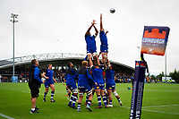 Bath Rugby forwards in action during the pre-match warm-up. Pre-season friendly match, between Edinburgh Rugby and Bath Rugby on August 17, 2018 at Meggetland Sports Complex in Edinburgh, Scotland. Photo by: Patrick Khachfe / Onside Images