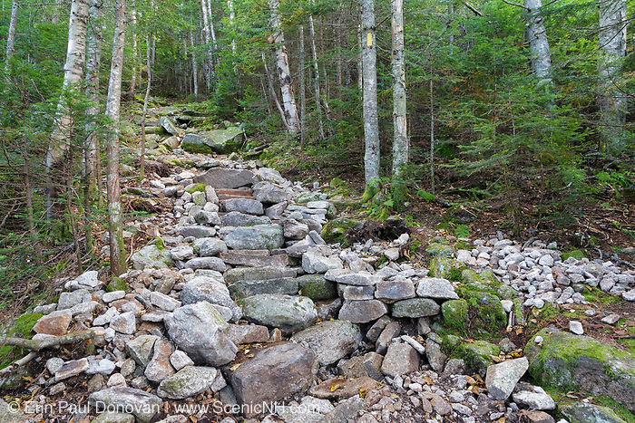 Newly built rock steps along the Mt Tecumseh Trail in the New Hampshire White Mountains in the summer of 2011. Trail maintenance handbooks suggest the best trails show little evidence of trail work and that work should blend in with the surroundings.