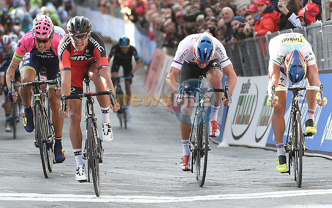 Greg Van Avermaet (BEL) BMC Racing Team outsprints Peter Sagan (SVK) Tinkoff Saxo and Zdenek Stybar (CZE) Etixx-Quick-Step to win Stage 3 of the 2015 Tirreno-Adriatico cycle race running 203km from C&agrave;scina to Arezzo, Italy. 13th March 2015.  <br /> Photo: ANSA/Daniel Dal Zennaro/www.newsfile.ie